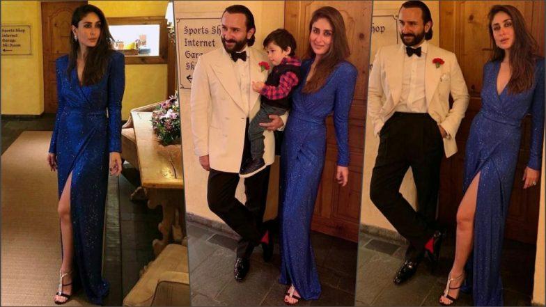Kareena Kapoor Khan's New Year 2019 Photos: Actress Looks Ravishing in Blue Alexander Terekhov Dress Posing With Saif and Taimur