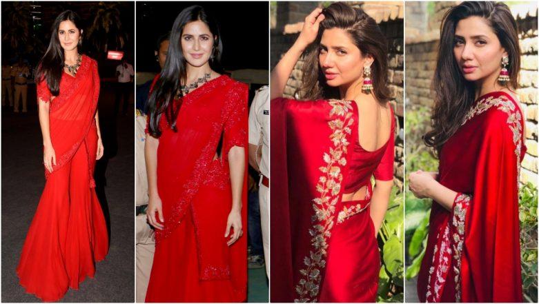 Katrina Kaif or Mahira Khan, Whose Red Saree Look Are You Digging? See Pics to Decide