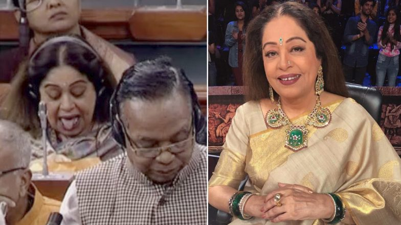 Kirron Kher is Being Called a Backbencher For Her Animated Expressions During Debate on Upper Caste Quota, Watch Viral Video