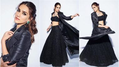 Kriti Sanon at Umang 2019 Event: Luka Chuppi Actress' Sunaina Khera Lehenga-Choli With an Overcoat Is Perfect for a Chilly Evening (See Pics)