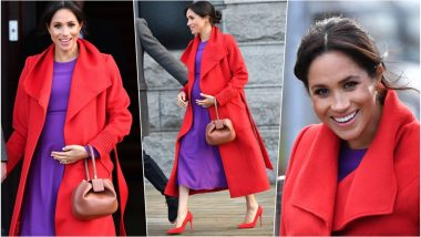 Meghan Markle Shows How To Rock Colour Block Style! See Pics of Six-Months Pregnant Duchess of Sussex Meeting Well-Wishers