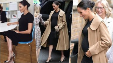 Meghan Markle Looks Classy in a Black Maternity Dress With Oscar de la Renta Trench Coat as She Steps Out for Her First Royal Engagement of The Year, See Pics