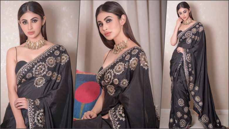 Mouni Roy Looks Stunning in Black Saree and Noodle Strap Blouse at Lion Gold Awards 2019! See Pics of Hot Actress