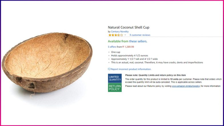 Natural Coconut Shell Cups Selling on Amazon India for Rs 3000! Check Funny Tweets