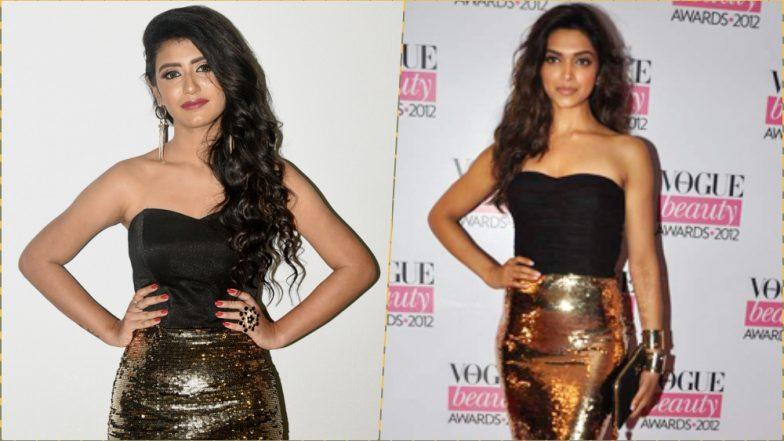 Priya Prakash Varrier's Attempt at Recreating Deepika Padukone's Black & Gold  Dolce & Gabbana Outfit is Such a Blah, See Pics