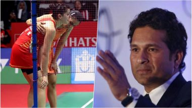 Saina Nehwal Helps an Injured Carolina Marin, Sachin Tendulkar Shares Inspiring Picture to Congratulate Indian Shuttler on Indonesia Masters 2019 Title!