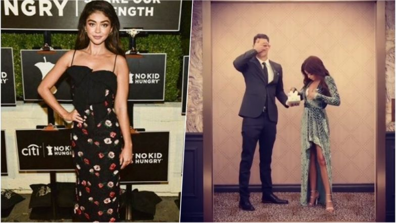 Sarah Hyland Hilariously Stuffs Her Bra with Tissues While Her Boyfriend Wells Adams Shuts His Eyes, Watch Video