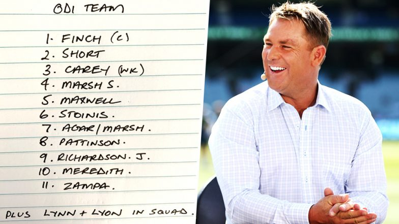 Shane Warne Disappointed With Australia's 14-Man ODI Squad Against India, Former Australian Spin Wizard Tweets His Own Team!