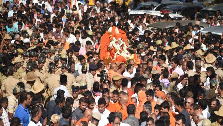 Shivakumara Swamiji Laid to Rest With Full State Honours in Karnataka's Tumakaru; Thousands Attend Funeral of Siddaganga Mutt Seer