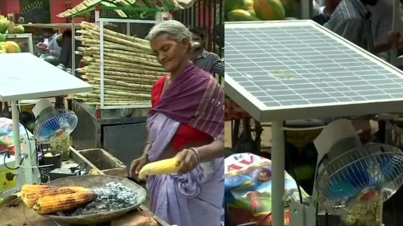 Solar Energy to Roast Corns! 75-Year-Old Bengaluru Woman Finds Replacement For Conventional Stall
