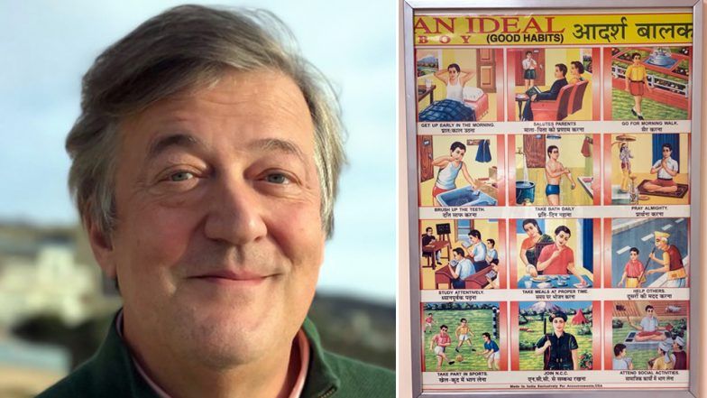 Stephen Fry Shares 'Adarsh Balak' Poster From His Doctor's Room and Indian Twitterati is Pleasantly Surprised! Check Funny Tweets