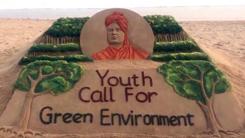 Swami Vivekananda Jayanti 2019: Sand Artist Sudarsan Pattnaik Gives a Message of Greener Environment Through His Beautiful Sand Art, Watch Video