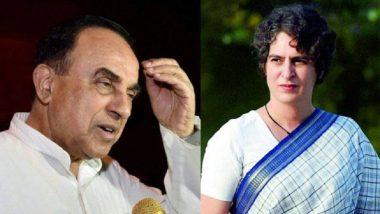 Subramanian Swamy's Shocker on Priyanka Gandhi: 'She is Bipolar, Beats People Up'