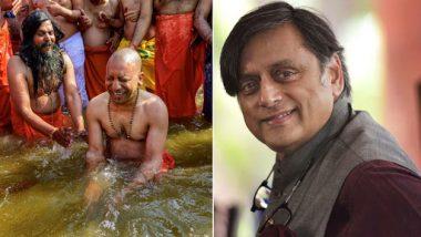 Shashi Tharoor Takes Jibe at Yogi Adityanath's Ganga Dip at Kumbh Mela, BJP Hits Back