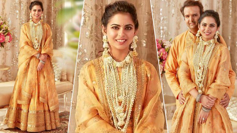 Isha Ambani Haldi Ceremony Pics: Newly Wed Makes an Elegant Statement in Yellow Sabyasachi Outfits for Her Pre-Wedding Festivity