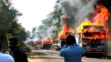 Maharashtra: 4 Including School Students Killed, 10 Injured as Bus-Truck Collide in Gadchiroli; Angry Locals Torch Vehicles