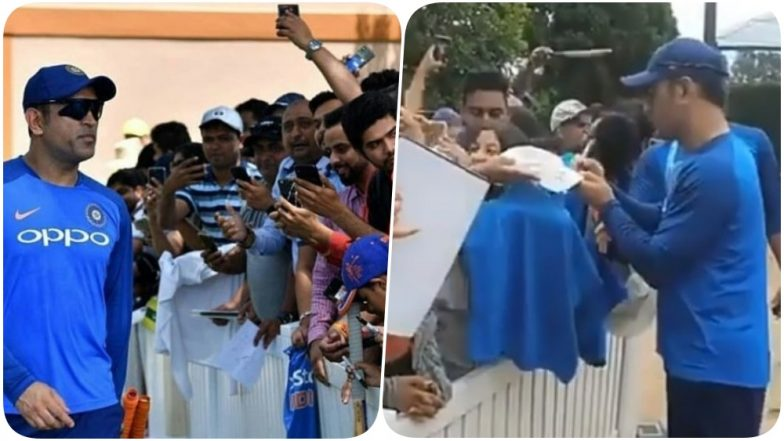 MS Dhoni Meets Fans at Sydney Cricket Ground after Practice (Watch Video)