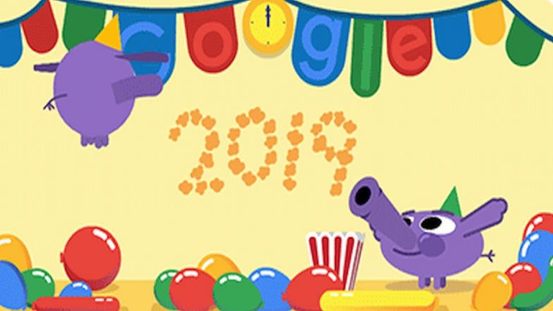 New Year 2019 Google Doodle is a Perfect Happy New Year GIF Greeting! How to Download and Send This Cute GIF Image on Android Phones & PC