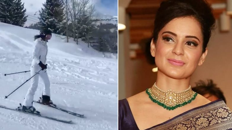 What Manikarnika Controversy? Unfazed Kangana Ranaut Goes Skiing in Swiss Alps Amid the Row (Watch Video)
