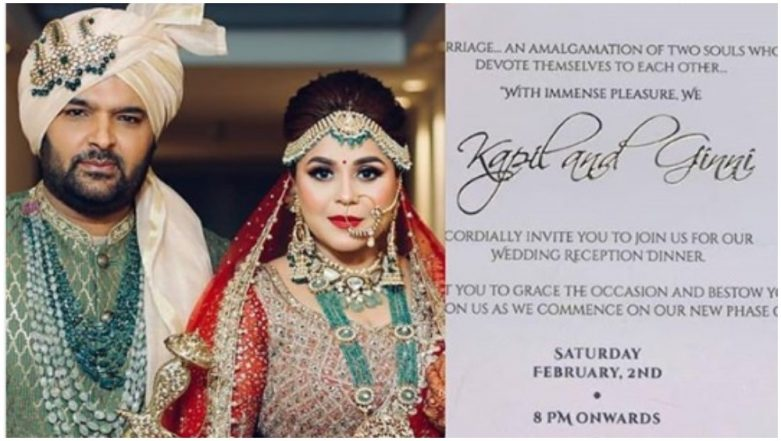 Kapil Sharma and Ginni Chatrath to Now Host a Wedding Reception in Delhi, Check Out the Invite