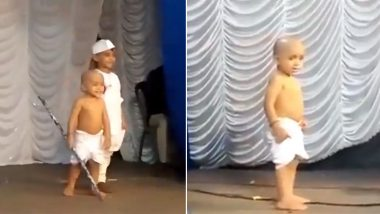 Adorable Video of Little Gandhiji Leaving His Stick and Chacha Nehru Behind After Spotting His Mom in the Audience Goes Viral