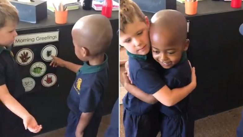 'Happy Greeter' Kid Says 'Good Morning' To Friends in Ways That Make You Go Aww… (Watch Viral Video)