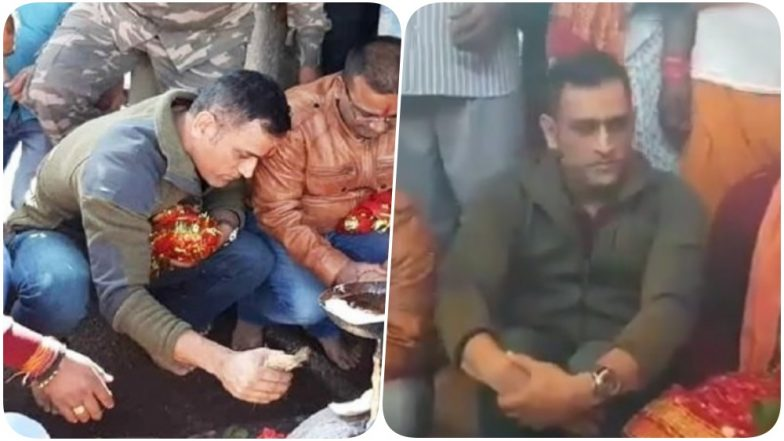MS Dhoni Seeks Blessings of Deori Dev Ahead of Australia Tour; Offers Prayers to Deity in Ranchi (Watch Video and Pics)