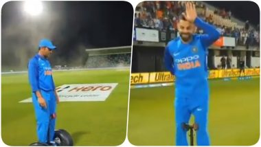 MS Dhoni and Virat Kohli Ride a Hoverboard After Winning Ind vs NZ, 1st ODI (Watch Video)
