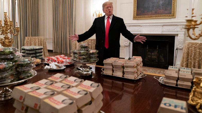 Donald Trump Pays From His Pocket for Burgers and Fries to Treat Football Team Clemson Tigers at White House Amid Government Shutdown