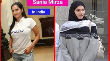 Sania Mirza Donning Hijab in Pakistan & Wearing Western Dress in India Goes Viral! But Here is the Truth Behind Tennis Star's Pics