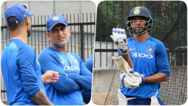MS Dhoni, Virat Kohli Sweat it Out in the Nets Ahead of Decider Game Against Australia (See Pics and Video)