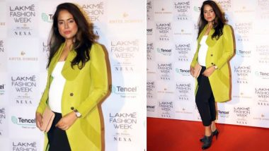 Sameera Reddy and Husband Akshai Varde Expecting Their Second Child; Actress Flaunts Her Baby Bump at Lakme Fashion Week 2019