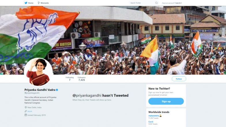 Priyanka Gandhi Vadra Joins Twitter Ahead of Lok Sabha Elections 2019; Here's Who All The Congress General Secretary Is Following