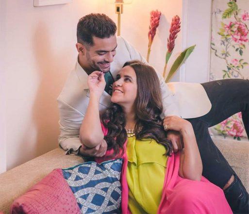 Angad Bedi and Neha Dhupia cute picture.