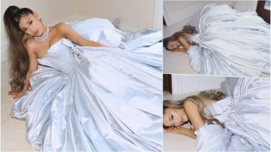 Grammy Awards 2019: Ariana Grande Has Her Red Carpet Moment at Home as She Poses in Gorgeous Blue Zac Posen Gown (View Pics and Video)