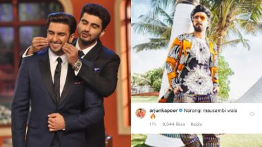 Arjun Kapoor Proves Friends Are the Biggest Trolls as He Calls Ranveer Singh 'Narangi Mausambi Wala' - See Pics