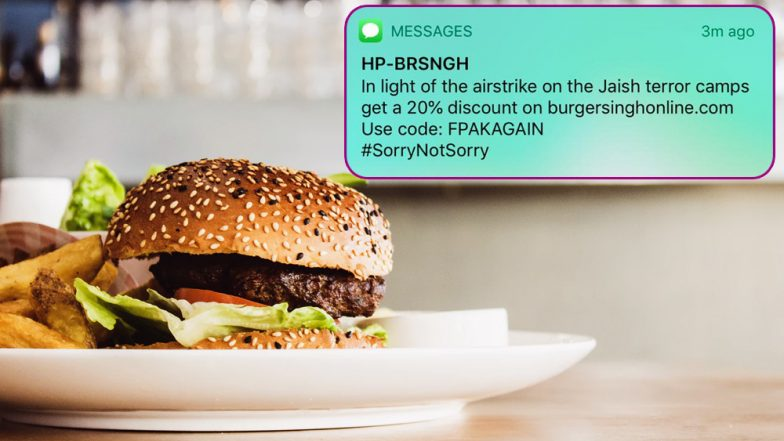 Burger Singh and Other Brands Exploit IAF's Strike in Pakistan by Offering Discounts, Face Backlash on Social Media