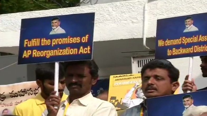 TDP Workers Stage Protest at Andhra Pradesh Bhawan in Delhi Against Narendra Modi Demanding Special Status to Backward Areas of State