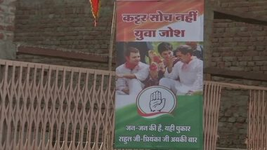 Congress Posters of Robert Vadra With Rahul & Priyanka Gandhi Surface Outside ED office in Jaipur Hours Before Questioning
