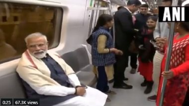 PM Narendra Modi Takes Delhi Metro Ride to Visit ISKCON Temple at Greater Kailash, Unveils World's Largest Bhagavad Gita