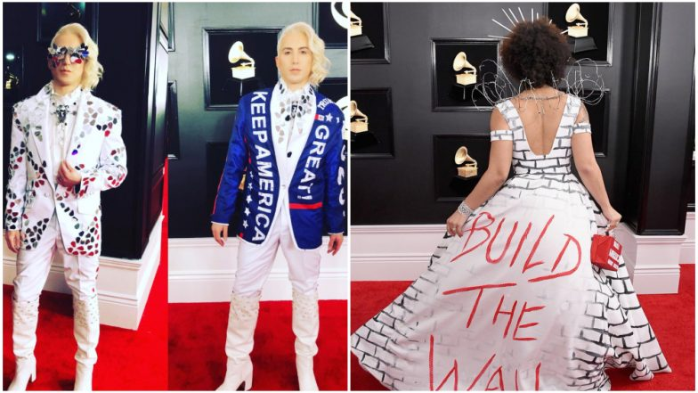 Singer wears 'Build the Wall' dress on Grammy red carpet