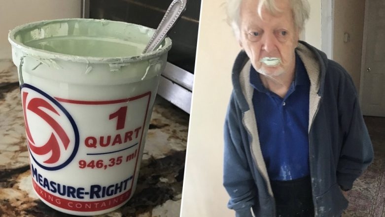 90-Year-Old Grandpa Eats Half a Tub of Paint Thinking its Yoghurt! Check His Picture Going Viral