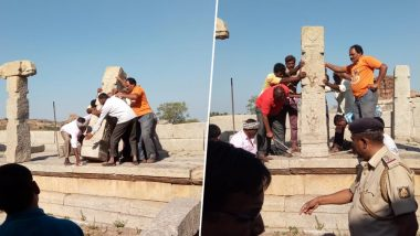 Karnataka: Four Youths Who Vandalised Hampi Temple Complex Made to Re-Erect Pillars, Pay Rs 70,000 Fine Each