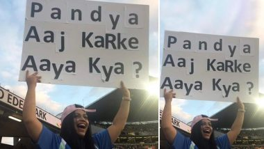 'Pandya Aaj Karke Aaya Kya?' Female Spectator Trolls Hardik Pandya With Banner During India vs New Zealand 2nd T20I