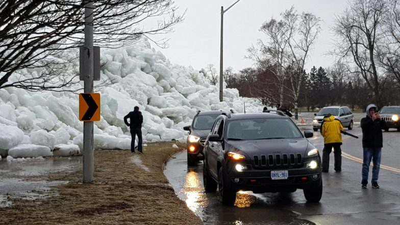 Ice Tsunami in North America! Strong Winds Blow Huge Ice Chunks From Lakes to Highways (See Pictures)