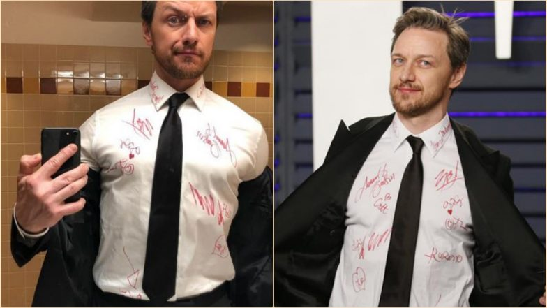 Oscars 2019: James McAvoy's Shirt is Covered in Autographs for Charity