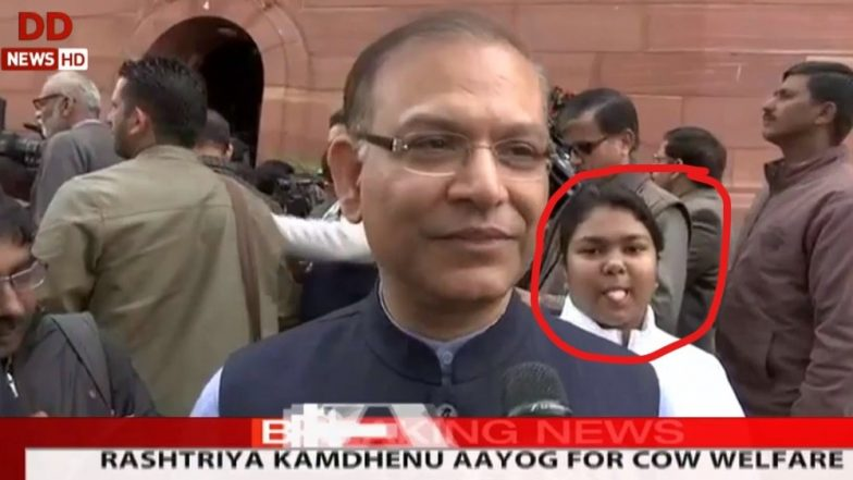 Budget 2019: Girl Photobombs Minister Jayant Sinha's Interview Outside Parliament, Photo Goes Viral