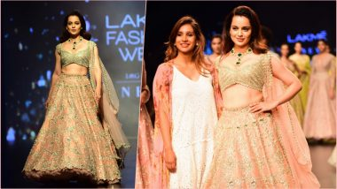LFW 2019: Kangana Ranaut Dolls Up in Feminine and Elegant 'Lehenga Choli' by Anushree Reddy at Lakme Fashion Week (See HD Pics)