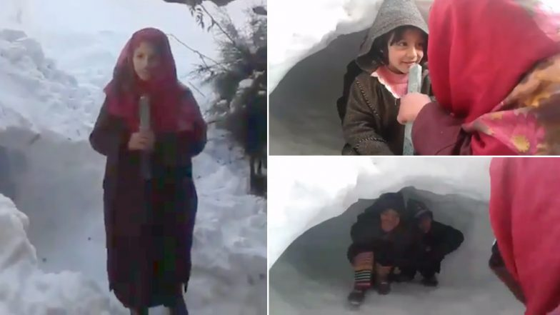 Video of Kashmiri Girl Reporting on Snowfall in Valley With a Ruler in Hand Goes Viral, Watch Funny Clip!