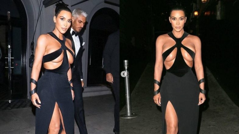 Kim Kardashian West Shows Too Much Flesh In A Racy Black Gown With Torso Revealing Cut-Outs!